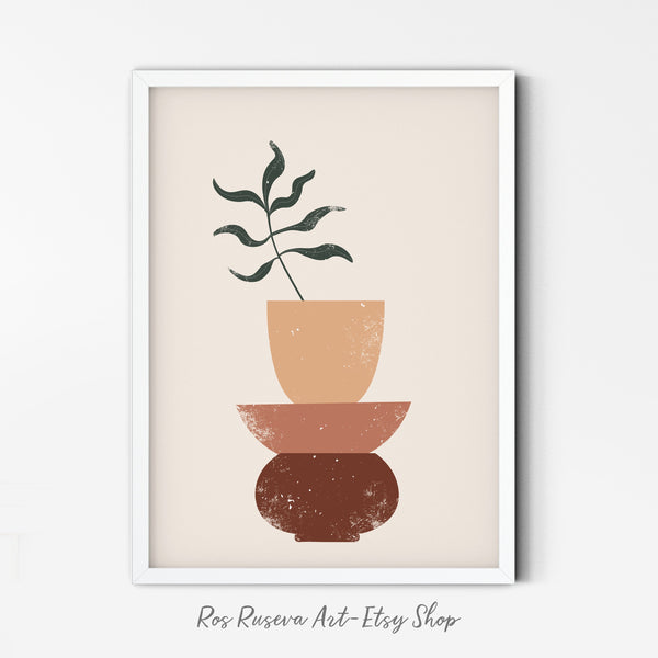 Palm Leaf Vase Art Print | Terracotta Pot Wall Art | Clay Pottery Poster | Abstract Pottery Wall Print | Minimalist Plant Art | Tropical Art
