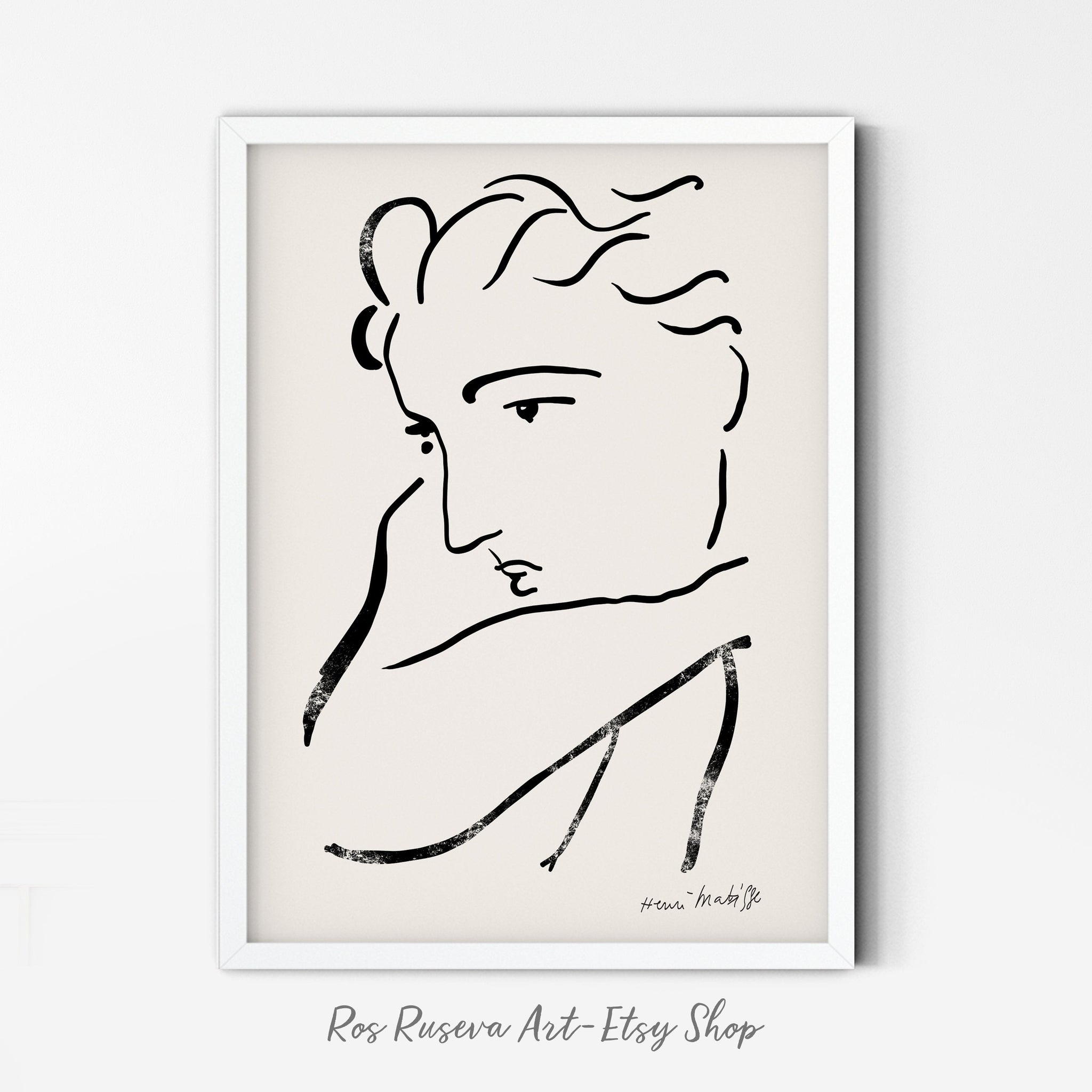 Henri Matisse Print, One Line Drawing, Matisse Art Print, One Line Art, Matisse Wall Art, Matisse Poster, Female Line Art, Abstract Face Art