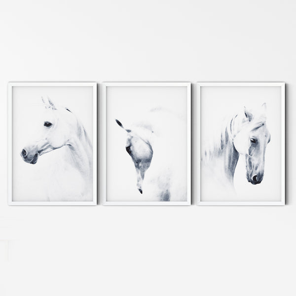 White Horse Print, Horse Poster, Nordic Art Print, Minimal Watercolor, Horse Art Print, White Horse Art, Horse Watercolor, Black and White