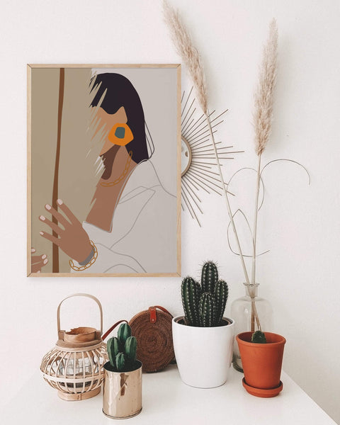 Boho Woman Art Print | Color Block Woman Poster | Minimal Palm Leaf Poster | Minimalist Terracotta Wall Art | Burnt Orange Woman Wall Print - Ros Ruseva