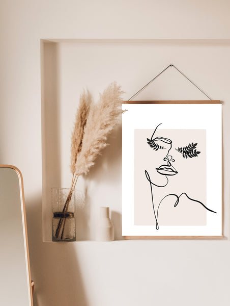 One Line Drawing, Abstract Face art, Modern Art Poster, Boho Home Print, One Line Print, Line Drawing Woman, One Line Art, Female Line Art