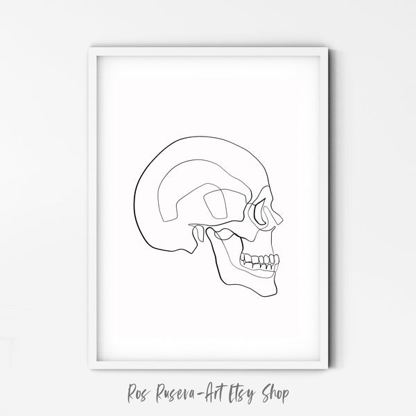 Skull Prints, One Line Drawing, One Line Art, Skull Line Art, Single Line Art, Skull Drawing, Minimal Line Art, Abstract Line Art