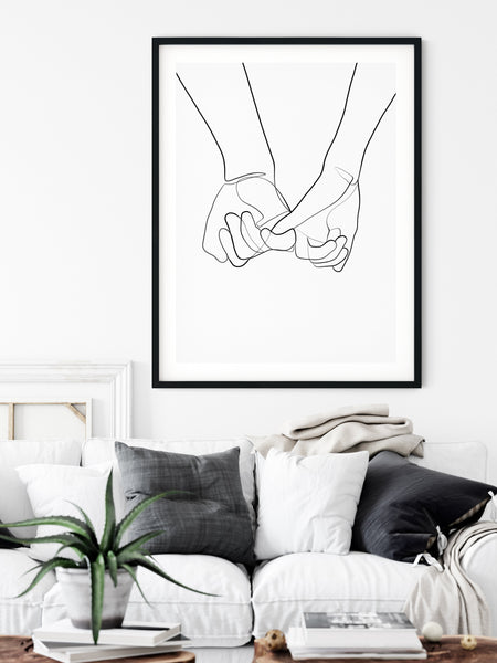 Holding Hands Print, One Line Art, One Line Drawing, Hands Art Print, Romantic Poster, Single Line Art, Minimal Line Art, Couple Print