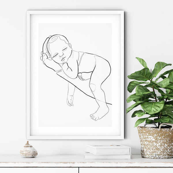 Newborn Line Art, Nursery Wall Art, One Line Art, Gift for New Dad, One Line Drawing, Family Drawing, Single Line Art, Minimal Line Art