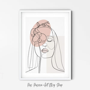 One Line Drawing, Female Line Art, Flower Line Art, One Line Art, Line Drawing Woman, Single Line Art, Flower Girl Art Print - Ros Ruseva