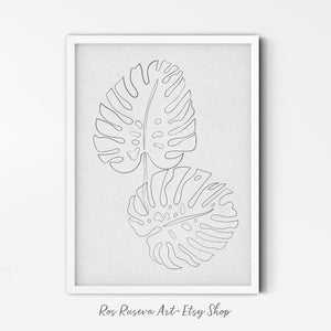 Monstera Wall Art, One Line Drawing, Tropical Leaves Poster, Botanical Wall Art, One Line Art, Monstera Leaves Poster, Single Line Art