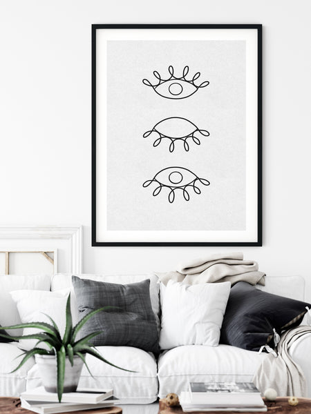 Eyes Drawing, One Line Drawing, Eyes Line Art, Abstract Line Art, Minimalist Line Art, Single Line Art, Modern Minimal Art, One Line Art - Ros Ruseva