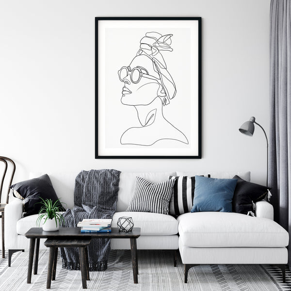 Woman with Glasses Print, Woman Line Drawing, One Line Art, One Line Drawing, Abstract Face Art, One Line Print, Minimal Sketch Art