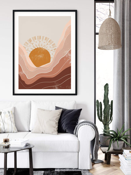 Abstract Sun Art Print | Neutral Wall Art | Warm Color Palette | Minimalist Poster Print | Landscape Wall Art | Mountains Poster | Boho Art - Ros Ruseva