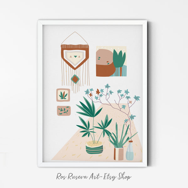 Planter Art Print | Potted Plant Poster | House Plants Wall Art | Printable Botanical Art | Botanical Wall Art| Rubber Plant Poster - Ros Ruseva