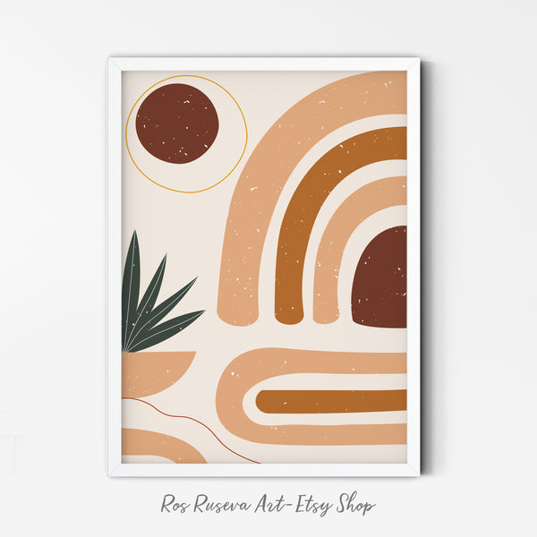 Neutral Art Print | Random Abstract Shapes Poster | Minimalist Modern Wall Art | Contemporary Minimal Print | Printable Boho Abstract Art - Ros Ruseva