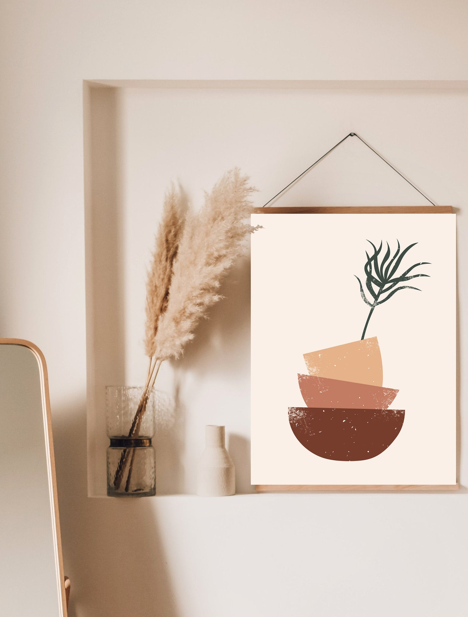 Potted Plant Art Print | Digital Art Painting | Printable Rustic Poster | Terra Color Print | Brush Stroke Wall Art | Minimal Plant Drawing