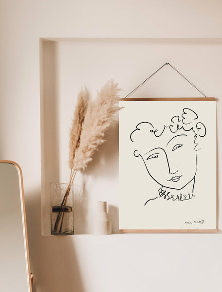 Henri Matisse Print, One Line Drawing, Matisse Art Print, One Line Art, Matisse Wall Art, Matisse Poster, Female Line Art, Abstract Face Art - Ros Ruseva