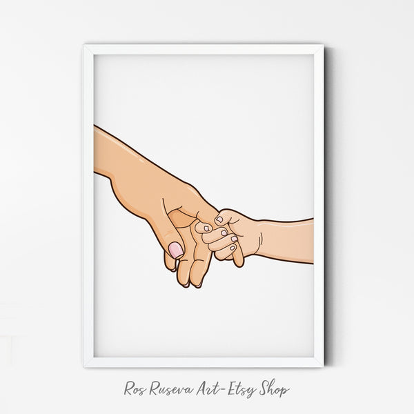 Mum and Baby Holding Hands, Mothers Day Print, Parent Holding Hands, New Mum Gift, Gift for Mother, Newborn Wall Art, Gift for Her - Ros Ruseva