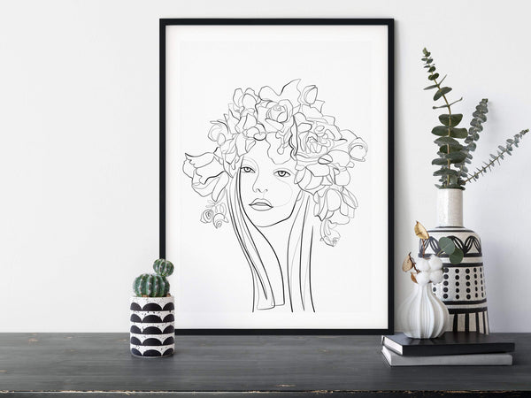 Flowers Woman Print One Line Art, One Line Drawing, Single Line Drawing, One Line Print, Flower Line Art, Woman Line Drawing Floral Line Art - Ros Ruseva