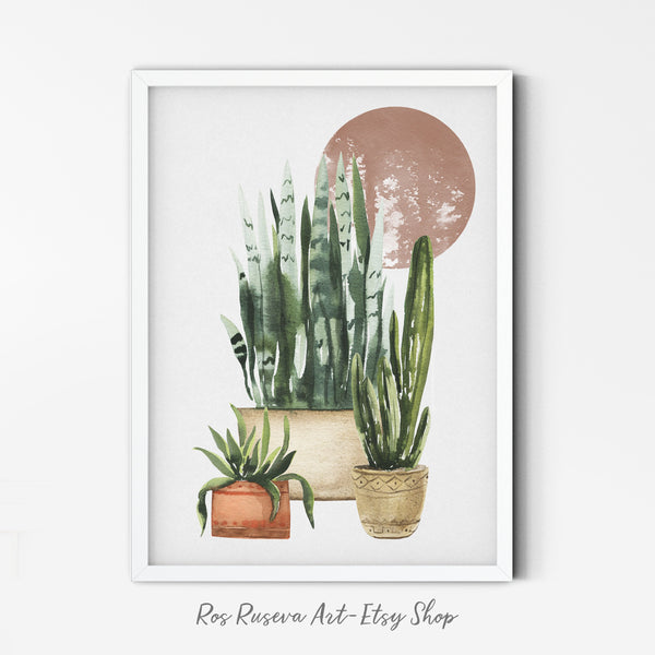 Watercolor Plants Print | Terracotta Pot Wall Art | Clay Pottery Poster | Abstract Pottery Wall Print | Minimalist Plant Art | Tropical Art