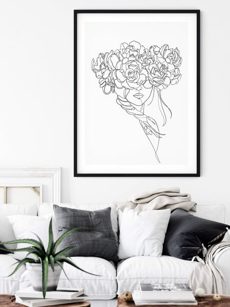 Flowers Woman Print, One Line Art, One Line Drawing, Peony Minimalist Art, Flower Line Art, Single Line Drawing, One Line Print - Ros Ruseva