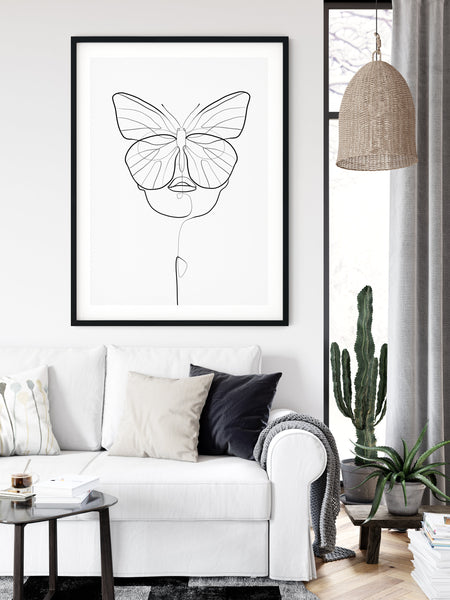 Woman Line Drawing, Butterfly Prints, Female Face Art, One Line Drawing, Butterfly Drawing, One Line Art, One Line Print, Single Line Art