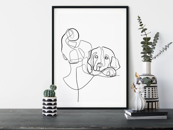 girl with dog line art
