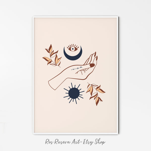 Mystic Hand Printable Sun Moon Wall Art,Occult Witch Decor Boho Print,Wicca Illustration Modern Art Digital Download
