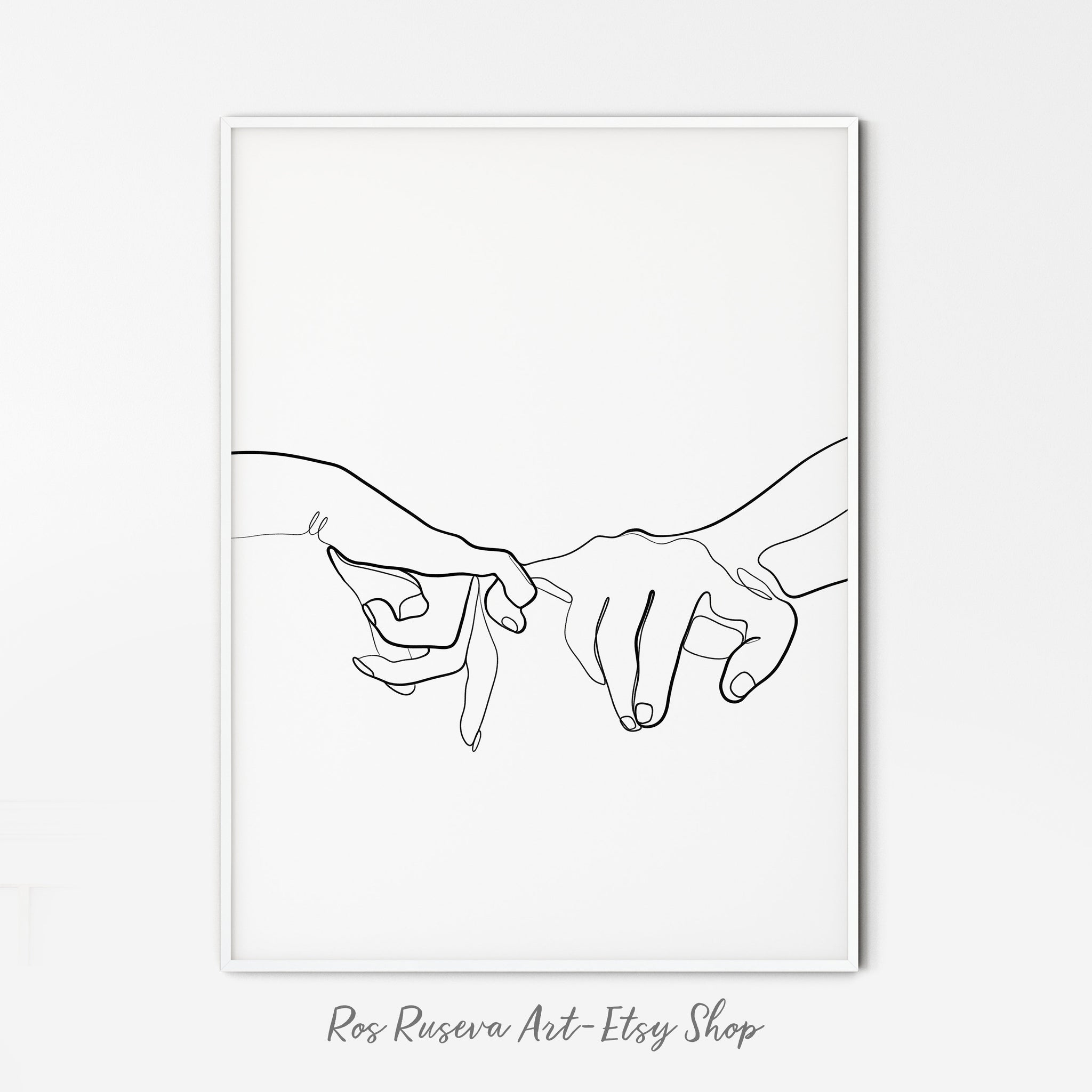 Pinky Promise Print, One Line Art, One Line Drawing, Pinky Swear, Romantic Poster, Single Line Art, Minimal Line Art, Couple Print