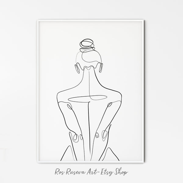Nude Line Drawing, Set of 2 Prints, Woman Line Drawing, One Line Art, One Line Drawing, One Line Print, Female Line Art, Single Line Art