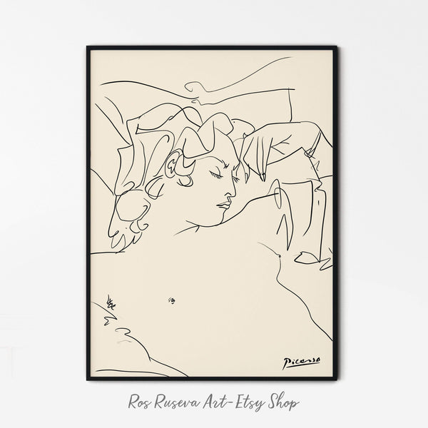 Picasso Poster, Nude Line Drawing, One Line Drawing, Picasso Line Art, One Line Art, Erotic Art Print, Picasso Line Drawing, One Line Print - Ros Ruseva