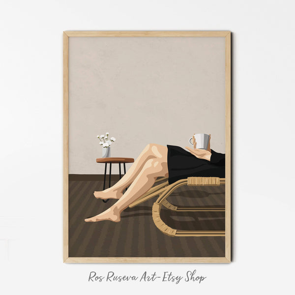 Relax Wall Art, Fashion Illustration, Girly Wall Art,  Female Art Print, Minimalist Illustration, Fashion Wall Art, Coffee Print - Ros Ruseva