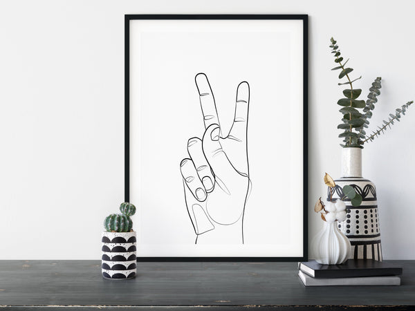 Peace Sign, Victory Sign, Hand Line Art, One Line Art, One Line Drawing, Symbol of peace, Single Line Art, Minimal Line Art - Ros Ruseva