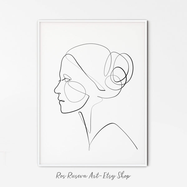 Woman Line Drawing, One Line Art, One Line Drawing, One Line Print, Female Line Art, Single Line Art, Face Line Drawing, Minimalist Line Art - Ros Ruseva