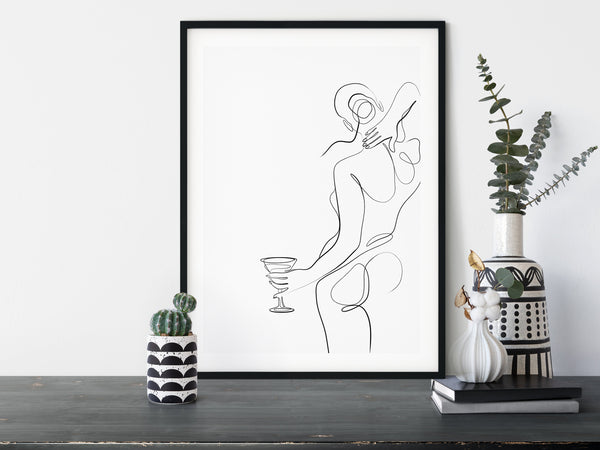 Woman With Glass of Wine, Woman Line Drawing, One Line Art, One Line Drawing, One Line Print, Female Line Art, Minimalist Line Art