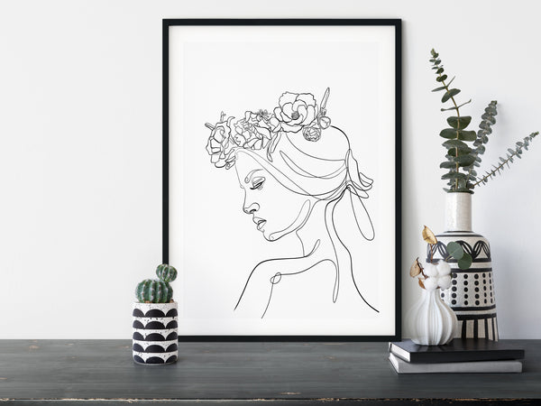 Women Flower Wreath, One Line Art, One Line Drawing, Female Line Art, Single Line Drawing, Floral Line Art, Line Illustration, Face Line Art