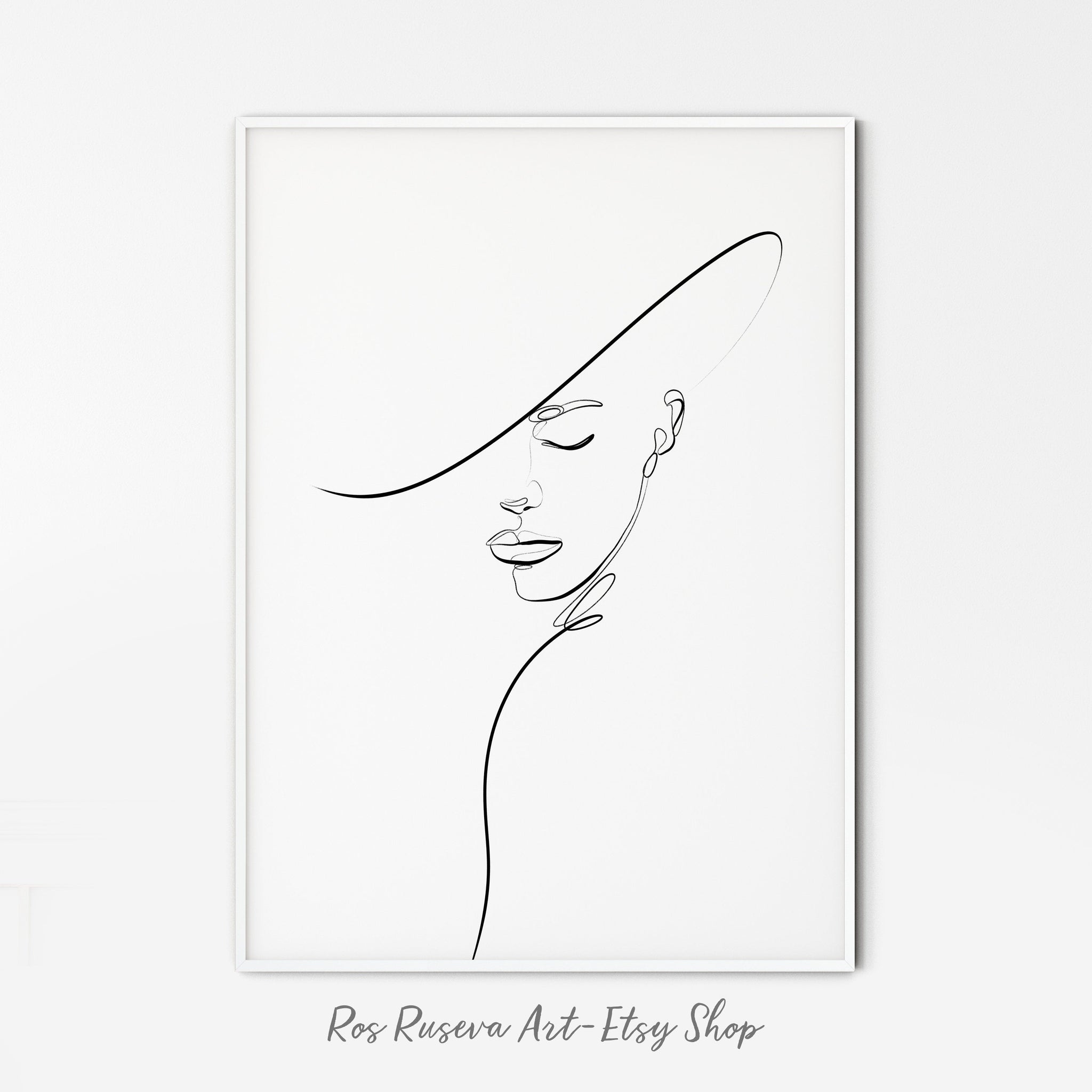 Woman With Hat Line Art, Female Face Art, One Line Drawing, One Line Art, Single Line Drawing, Single Line Art, Fashion Sketch
