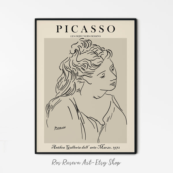 Picasso Poster, One Line Drawing, Picasso Line Art, One Line Art, Woman Line Drawing, Picasso Wall Art, Picasso Line Drawing, One Line Print - Ros Ruseva
