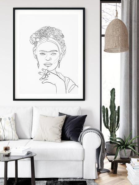 Frida Kahlo line sketch