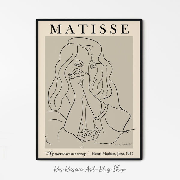 Henri Matisse Print, One Line Drawing, Matisse Art Print, One Line Art, Matisse Wall Art, Matisse Poster, Female Line Art, One Line Print