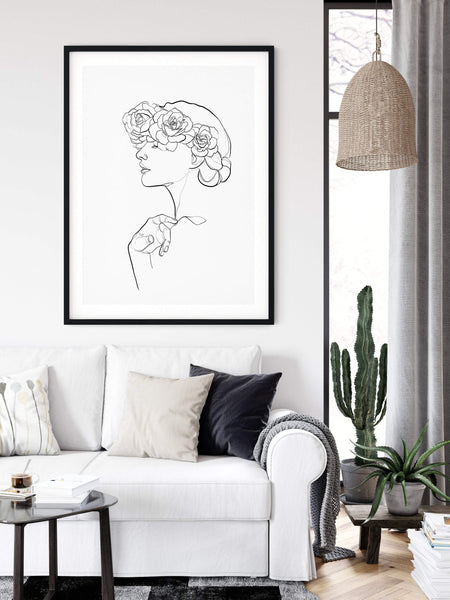 Woman with flowers drawing
