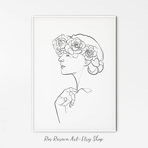 Female Line Art One Line Drawing, Line Art Set, Set of 3 Prints, One Line Art, Bird Drawing, Floral Line Art, Butterfly Drawing
