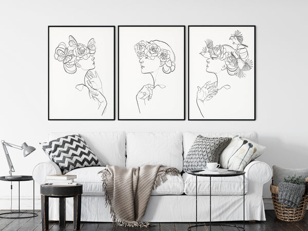 Female Line Art One Line Drawing, Line Art Set, Set of 3 Prints, One Line Art, Bird Drawing, Floral Line Art, Butterfly Drawing - Ros Ruseva