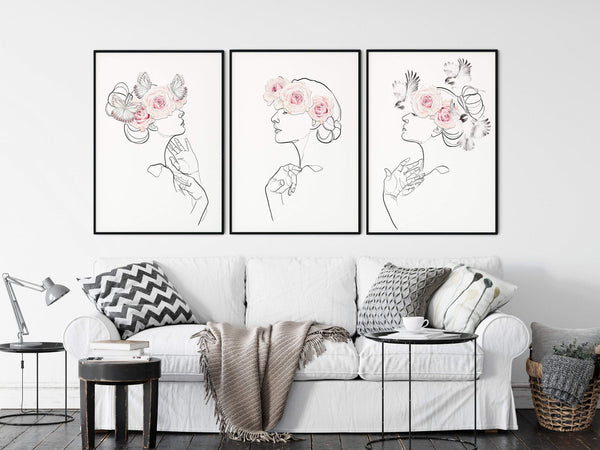 Female Line Art One Line Drawing, Line Art Set, Set of 3 Prints, One Line Art, Watercolor Birds, Watercolor Roses, Watercolor Butterfly - Ros Ruseva