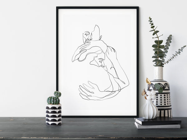 Couple Line Art, One Line Art, One Line Drawing, One Line Print, Erotic Art Print, Romantic Wall Art, Couple Portrait, Minimalist Line Art - Ros Ruseva