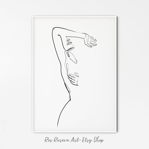 Nude Line Drawing, Single Line Drawing, One Line Art, One Line Drawing, Feminine Wall Art, Erotic Art Print, Female Line Art Simple Line Art