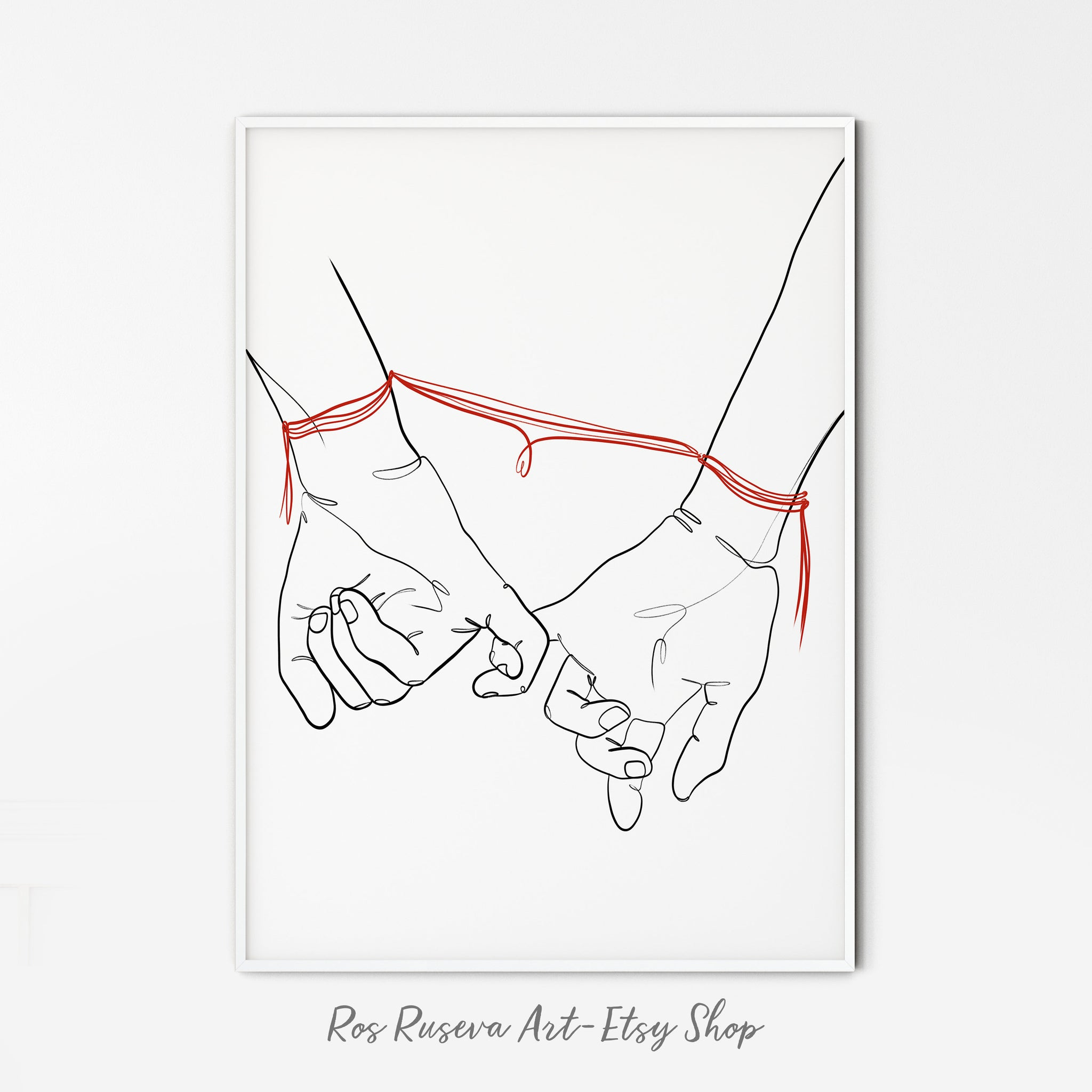 Holding hands with red thread, One Line Art, One Line Drawing, Couple Line Art, Romantic Wall Art, Hands Line Drawing, Minimal Line Art