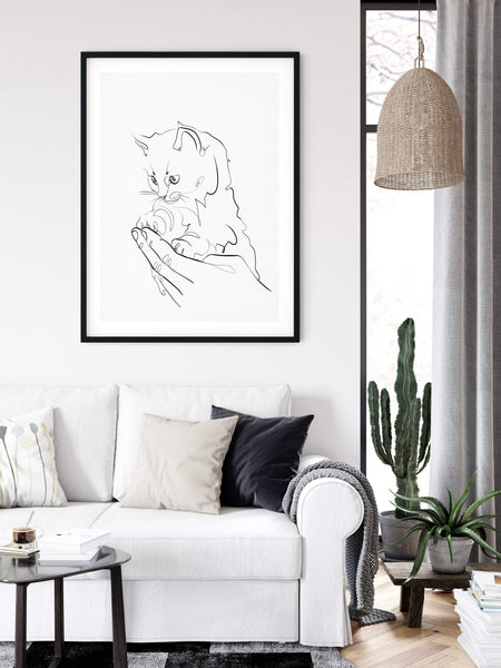 Cat One Line Art