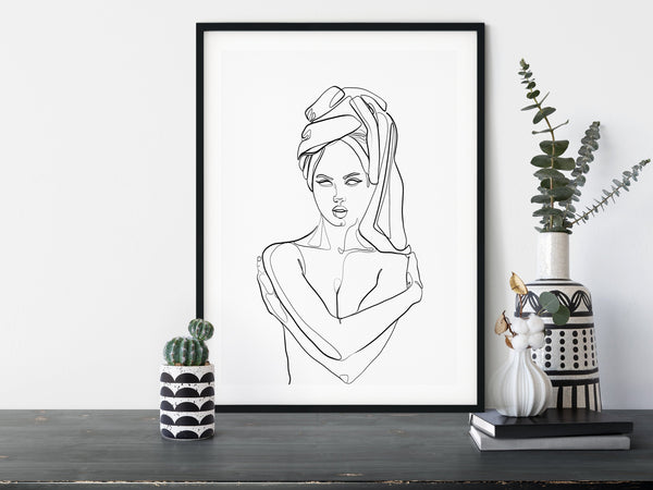 Women with Towel, One Line Print, Modern Art Poster, Single Line Art, Minimal Line Art, Single Line Drawing, Nude Line Drawing,  Line Art - Ros Ruseva