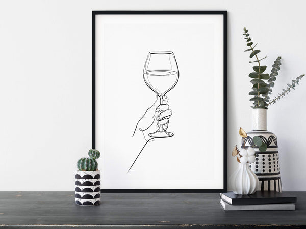 Glass of Wine line art