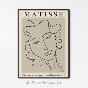 Henri Matisse Print, One Line Drawing, Matisse Poster, One Line Art, Matisse Wall Art, Matisse Poster, Female Line Art, Abstract Face Art