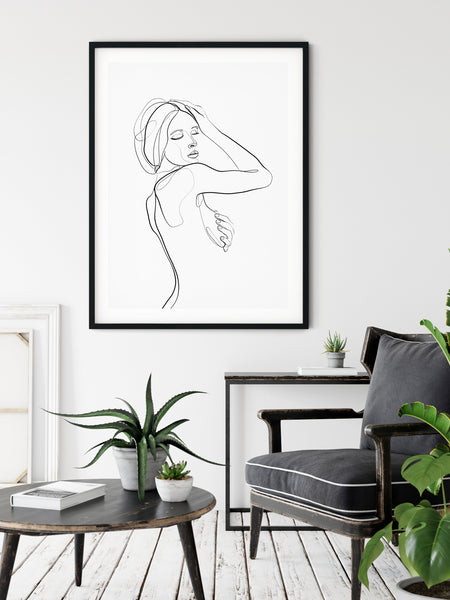 Nude Line Drawing One Line Drawing Feminine Wall Art One Line Art Line Illustration Female Figure Art Nude Line Art Female Line Art