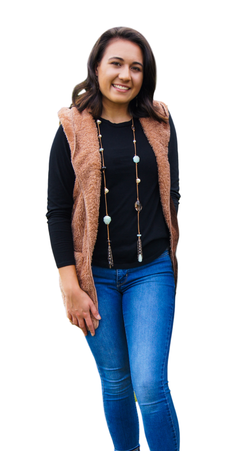 Angelina Hooded Faux Fur Vest With Pockets