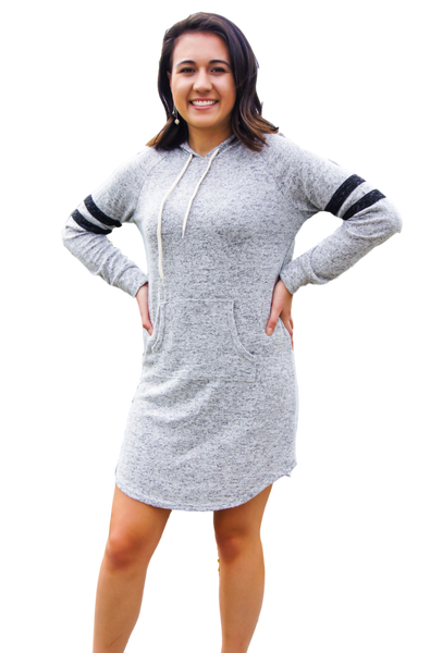 Sporty Casual Hoodie Dress